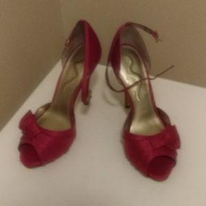 Nina leather bottom 7 1/2 Berry strap heels